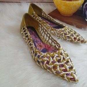 Irregular choice basket weave pointed toe shoes